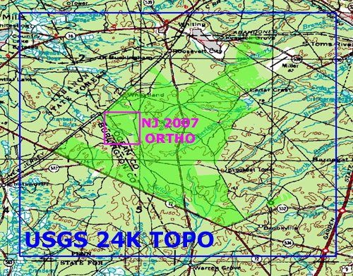 This Zip Archive Contains Both A Usgs 1 24000 Topo Map And Nj 2007 Digital Orthophotography Of The Greenwood Forest Wildlife Management Area In The New